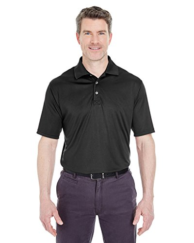UltraClub Men's Cool & Dry Interlock Polo Shirt, Black, Small. (Pack of 6) by UltraClub (Image #1)'