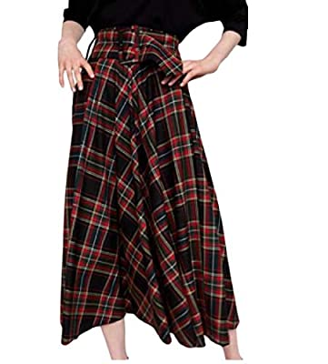 Abetteric Women Tartan Plaid Midi Belted Party Stylish A-Line Skirt