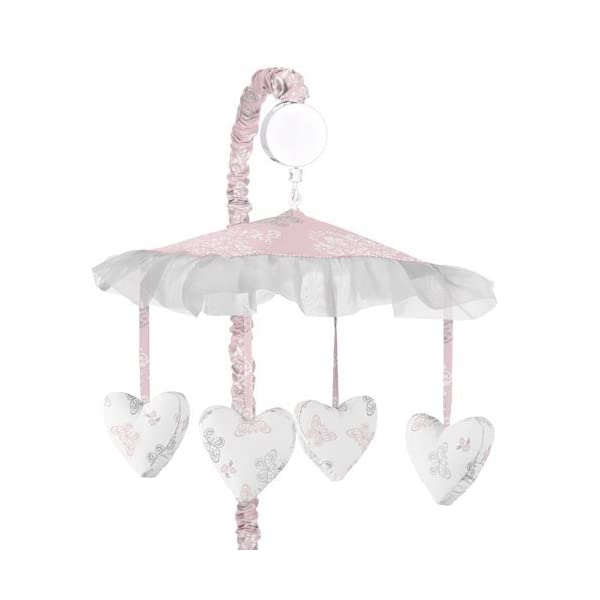 Sweet Jojo Designs Pink, Gray and White Shabby Chic Alexa Damask Butterfly Girls Musical Baby Crib Mobile
