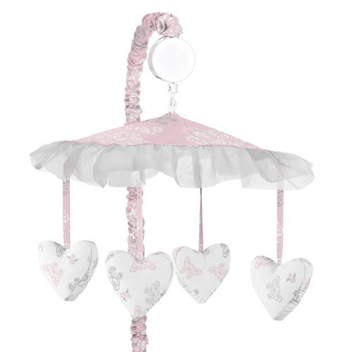 Sweet Jojo Designs Pink, Gray and White Shabby Chic Alexa Damask Butterfly Girls Musical Baby Crib - Damask Musical Mobile