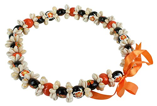 Barbra Collection Various Style of Kukui Nut Necklaces with Cowrie Shell (Orange)