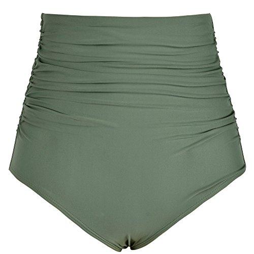 Firpearl Women's Retro Solid High Waist Ruched Bikini Bottom Swim Brief US6 Green
