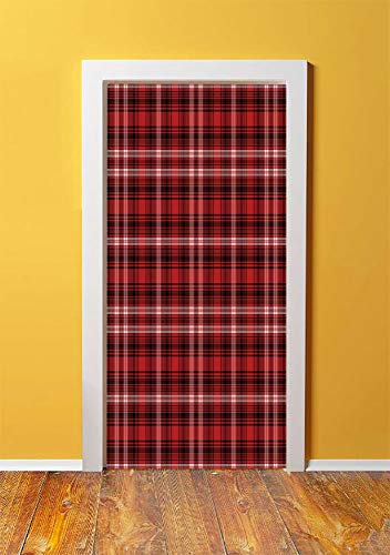 (Red Plaid 3D Door Sticker Wall Decals Mural Wallpaper,Quilt Squares Rectangles Flannel Pattern Geometric Inspirations Abstract,DIY Art Home Decor Poster Decoration 30.3x78.5560,Red Black White)
