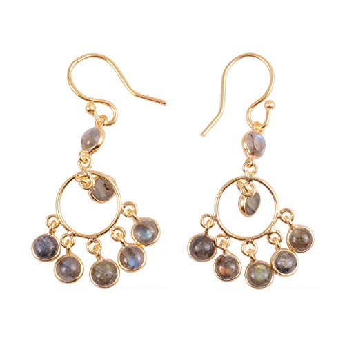 Dangle Drop Earrings 925 Sterling Silver Vermeil Yellow Gold Round Labradorite Gift Jewelry for Women