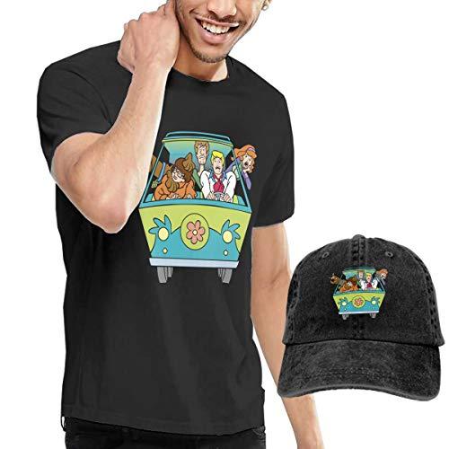 Scooby Doo Mystery Machine Van Men's Casual Short-Sleeve Crew Neck T-Shirts Top Tees + Hat Combo