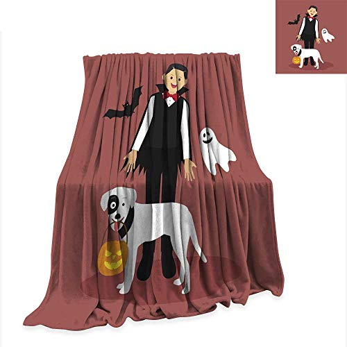 (Anniutwo Warm Microfiber All Season Blanket for Bed or Couch Halloween Dracula Costumes with White Dog Carrying a Pumpkin)
