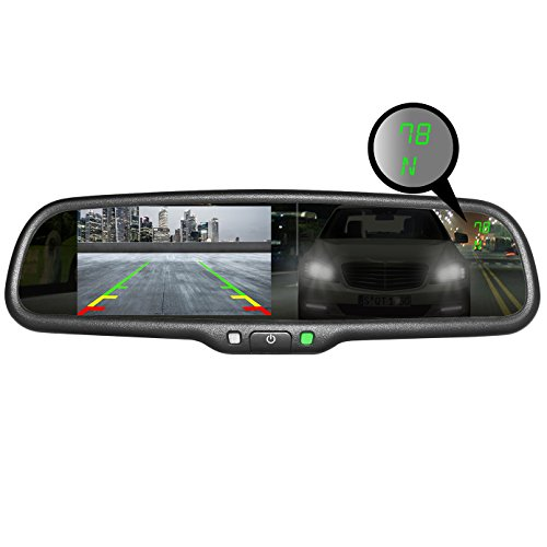 "Master Tailgaters OEM Rear View Mirror with Ultra Bright 4.3"" Auto Adjusting Brightness LCD + Auto Dimming Mirror + Compass & Temperature- Universal Fit"