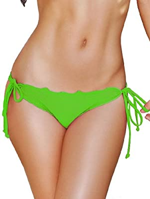 Lime Scalloped Tie Side Scrunch Bikini Bottoms - LARGE