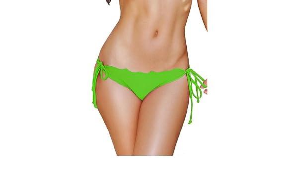 f80b6861d3238 Amazon.com  Lime Scalloped Tie Side Scrunch Bikini Bottoms - LARGE  Clothing