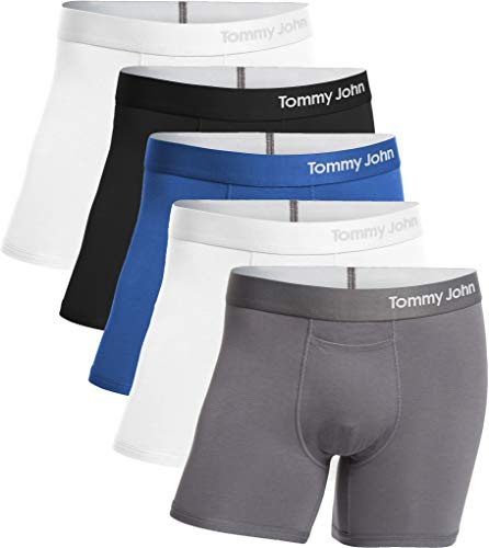 Tommy John Men's Cool Cotton Trunks - 5 Pack - Comfortable Breathable Soft Underwear for Men (White/TJ Blue/Iron Grey/Black/White, Medium) ()