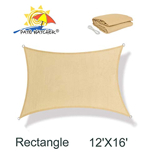 Patio Watcher 12' x 16' Rectangle Sun Sail Shade UV Block Shade Sail Perfect for Outdoor Patio Garden Sand ()