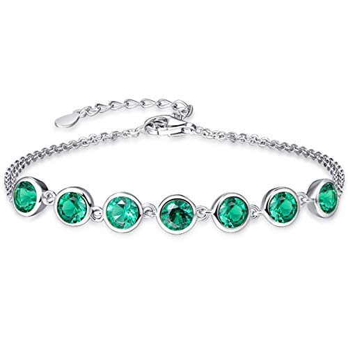 Created Emerald Cross - BONLAVIE Girl's Shining Created Green Emerald Two Row Cross Link Chain Bracelet Sterling Silver 6.5""