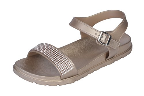 Joan Vass Stunning Women's Slippers Chic and Classy Sandals with Adjustable Buckles, Available in Magnificent Colours (8 B(M) US, gold)