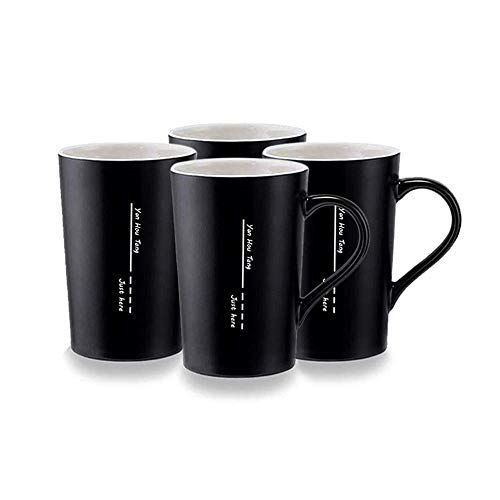 Yan Hou Tang Simple and Plain Solid Line Black Mug Cup Packed 4 for Coffee Juice Tea Hot Cold - 400ml 14oz Serving Carving Crafts Style for Home Office Club Pup Party Drink Cheers