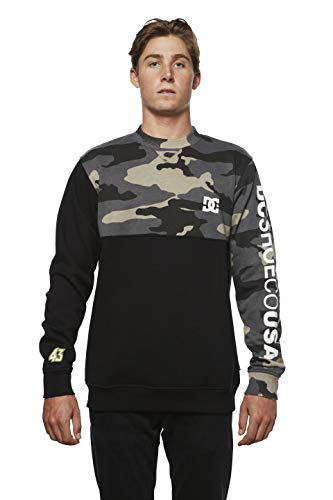 DC Apparel Men's Ken Block Founders Series Clewiston Crew Sweatshirt, Black KB dc camo, M