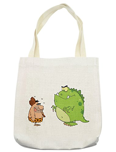 Lunarable Jurassic Tote Bag, Caveman and Angry Dinosaur Cartoon Style Characters Barbarian Comic, Cloth Linen Reusable Bag for Shopping Groceries Books Beach Travel & More, Cream ()