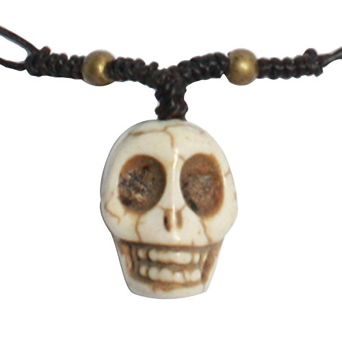 [Bijoux De Ja Handmade Howlite Skull Head Pendant Cord Necklace 16 Inches] (Rock And Roll Costume Ideas For Men)
