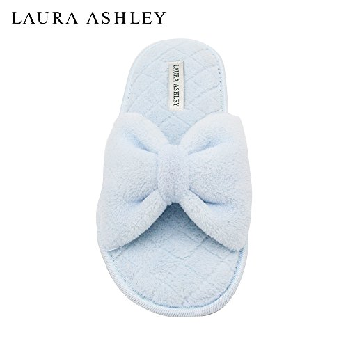 laura-ashley-ladies-open-toe-spa-slippers-with-bow-and-memory-foam-insole-in-pool-party-size-l