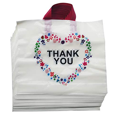 - 50Pcs Thank You Beige Merchandise Bags with Handles with Bottom Gusset, Plastic Shopping Bags Boutique Gift Bags,14.6