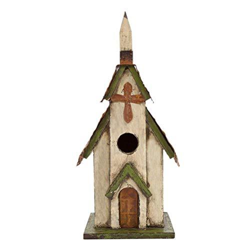 Hanging Decorative Birdhouse - Glitzhome Tall Church Hand Painted Wood Birdhouse, 11.81
