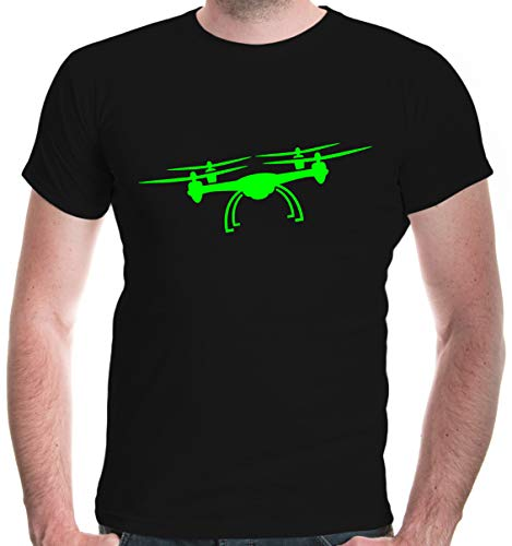 Mens T-Shirt Drone Silhouette-XL-Black-Neongreen
