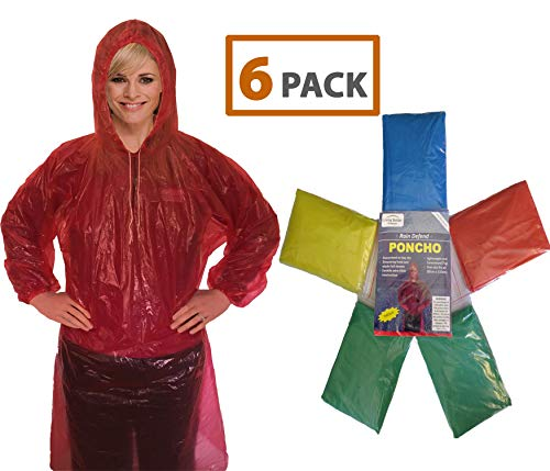 Rain Poncho for Adults (6 Pack) | Drawstring Hood and Elastic Sleeve Ends | 50% Thicker Quality Material | Emergency Disposable Rain Poncho | Assorted Colors | 100% Waterproof ()