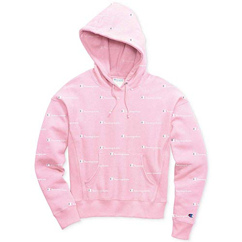 Champion LIFE Women's Printed Reverse Weave Pullover Hood, Champion Script Pink Candy/White M