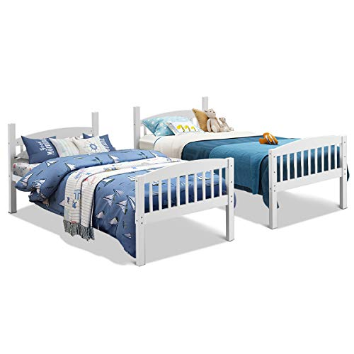 Costzon Twin Over Twin Bunk Beds Convertible Into Two Individual Solid Rubberwood Beds Children Twin Sleeping Bedroom Furniture W Ladder And Safety Rail For Kids Boys Girl White Pricepulse