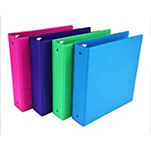 Samsill Fashion Color 3 Ring Binder, 2 Inch Round Rings, Storage Binder, 4 Pack Assorted - Electric Pink, Deep Purple, Fern Green, Ocean Blue