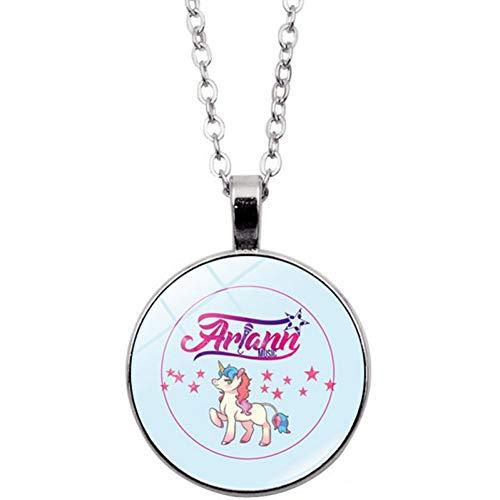 HYMAYX New 25mm Handmade Time Glass Gem Pendant Necklace Fairy Unicorn Convex Magic Jewelry