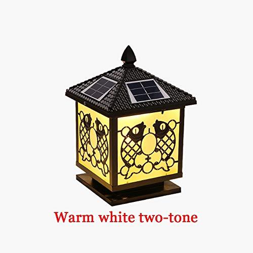 Wapipey Post Lights Aluminum LED Column Light Villa Club Pillar Light Garden Solar Bollard Light Outdoor Retro Gate Landscape Brick Columns Lighting Street Lamp IP55 Warm White Two-Tone