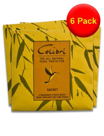 VALUE PACK 6x 3 Large Anti Moth Lemongrass Sachets from Colibri - A Natural Moth Repellent