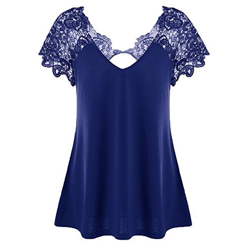 DongDong ❣Fashion V-Neck Lace Patchwork Tops, Womens Plus Size Backless Short Sleeve Trim Cutwork T-Shirt ()