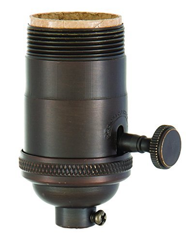 B&P Lamp Heavy Turned Brass Socket With Brass Knob, Antique Bronze Finish, 3-Way Function, Uno Thread Shell