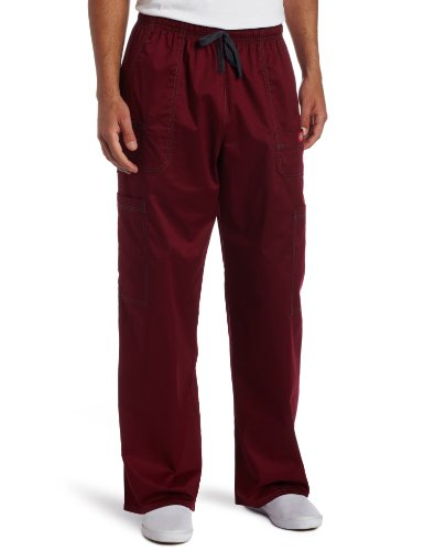 Dickies Men's Plus Size Genflex Utility Drawstring Cargo Scrubs Pant, Wine, XXXX-Large