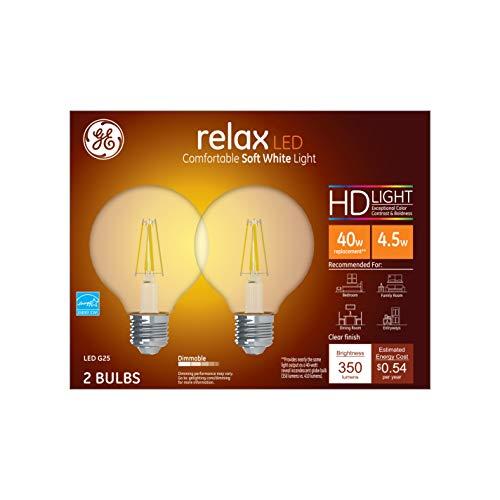 GE Lighting Relax HD Globe Dimmable LED Light Bulbs (40 Watt Replacement LED Light Bulbs), 350 Lumen, LED G25 Globe Light Bulbs, Soft White, Clear Finish, 2-Pack LED Bulbs