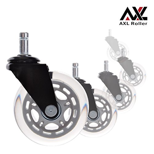 AXL Wheels for Office Chairs 3 inch PU Rollerblade Style casters (Set of 5), Safe for All Hardwood Floors, Grey/Clear