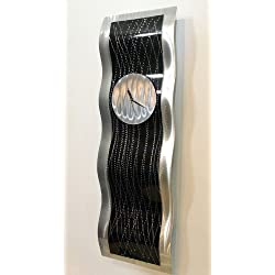 Abstract Black & Silver Hanging Metal Wall Clock - Modern Contemporary Handmade Metal Wall Art Accent - Black Willow by Jon Allen - 32-inch