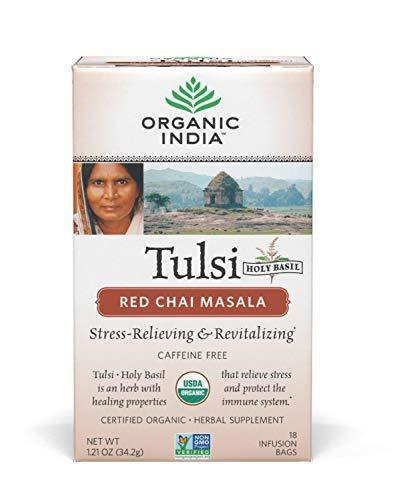Organic India Tulsi Red Chai Caffeine Free Tea, Masala, 18 ()