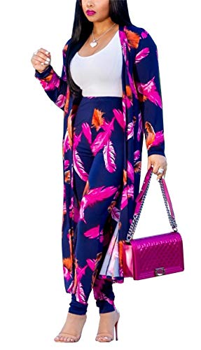 (Womens 2 Piece Outfits Floral Print Open Front Cardigan and Pants Clubwear Set)