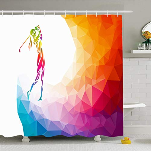 (Ahawoso Shower Curtain 72x72 Inches Play Lady Golf Player Sports Recreation LGBTQ Club Golfer Swing Abstract Rainbow Design Polygonal Waterproof Polyester Fabric Set with Hooks)
