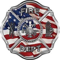 REFLECTIVE Traditional Fire Department Fire Fighter Maltese Cross Sticker / Decal with American Flag