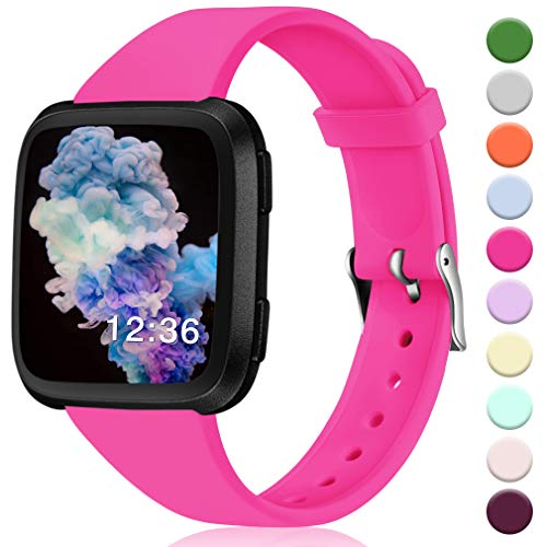 Hamile for Fitbit Versa/Versa 2/SE/Lite Bands, Slim Soft Silicone Wristbands Fitness Straps Replacement Belt for Fitbit Versa Lite Edition Fitness Smart Watch Band, Women Men Kids, Small (Rose)