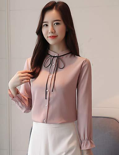 Pink Blouse Patchwork Color Unie Bow YFLTZ Block Lacet Femme Blushing Couleur qw8Hvd