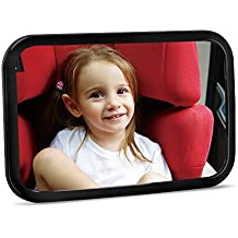 Baby Car Mirror - Crystal Clear Rear Facing Baby Mirror - Safety Certified & Crash Tested - Shatterproof Car Back Seat Mirror for Baby Infants Kids Children Toddlers - (Black)
