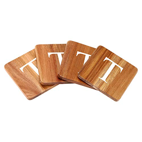 Wood Coasters for Drinks - 4-Pack Square Cup Coasters Personalized Monogram Coasters   Funny Housewarming Gift Wedding Decorations Or Even For Your Kitchen, Office Desk & Coffee Table