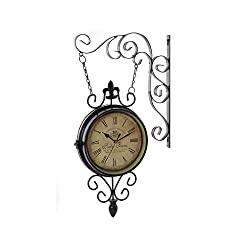 Fengfeng Double Sided Clocks, Iron Art Mute Garden Outdoor Wall Clock Personality Bracket Clock Retro Living Room Two-Sided Wall Bell