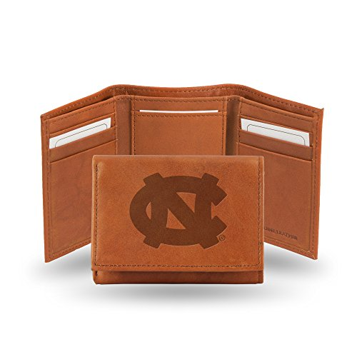 Rico Industries NCAA North Carolina Tar Heels Embossed Leather Trifold Wallet, Tan ()