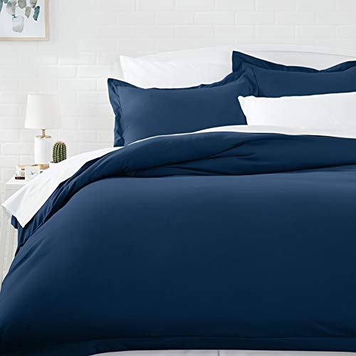 AmazonBasics Microfiber Comforter Duvet Cover and Pillow Sham Set - Full or Queen, Navy Blue (Blue Full Duvet)