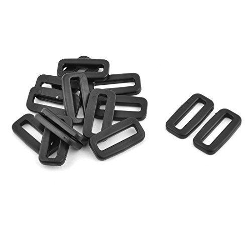 EbuyChX Plastic Bag Belt Removable Lock Tri Glide Buckles 25mm Strap Width 15 Pcs Black
